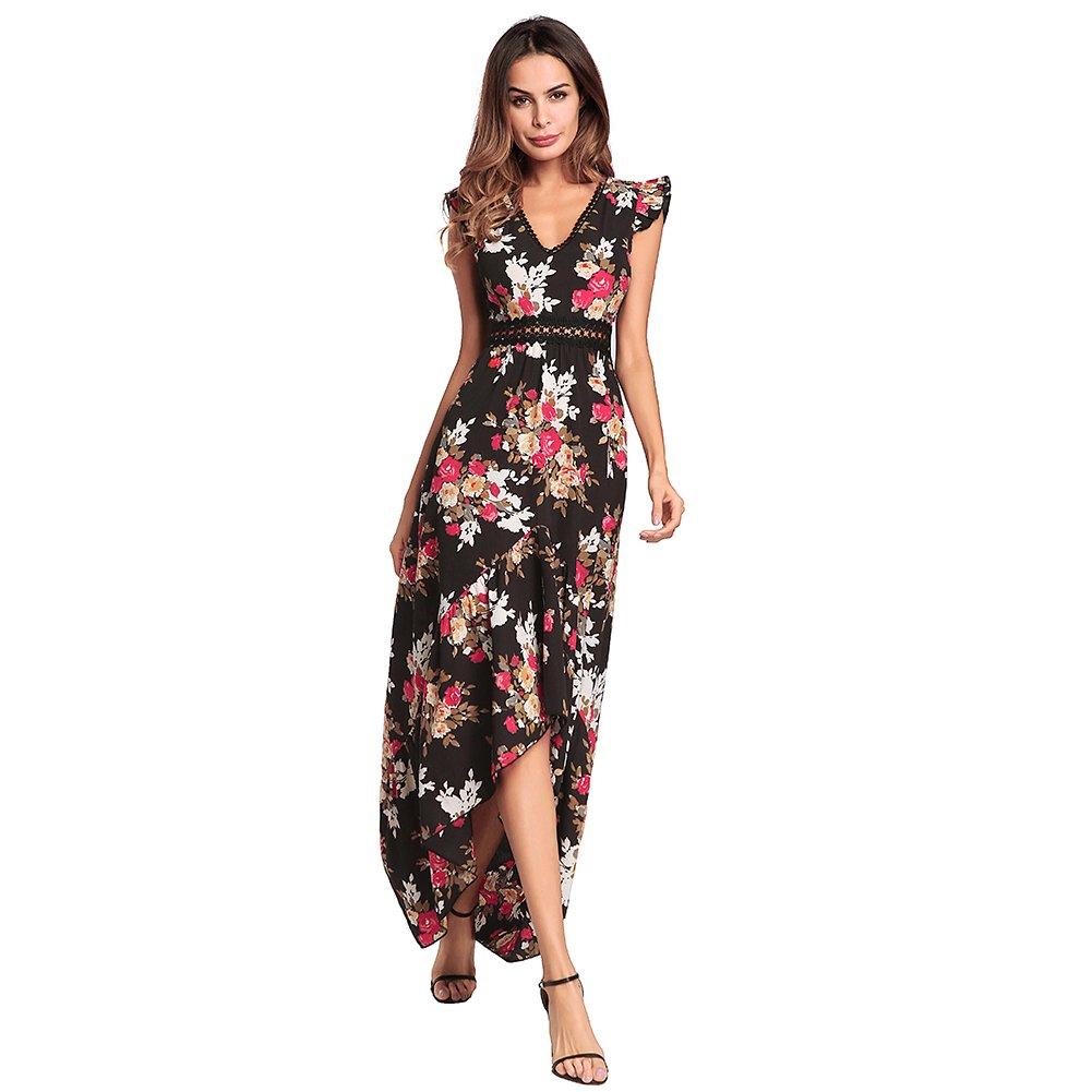 4b07c776600fb Ruiyige Women's V Neck Chiffon Floral Sexy Maxi Long Dress Summer ...