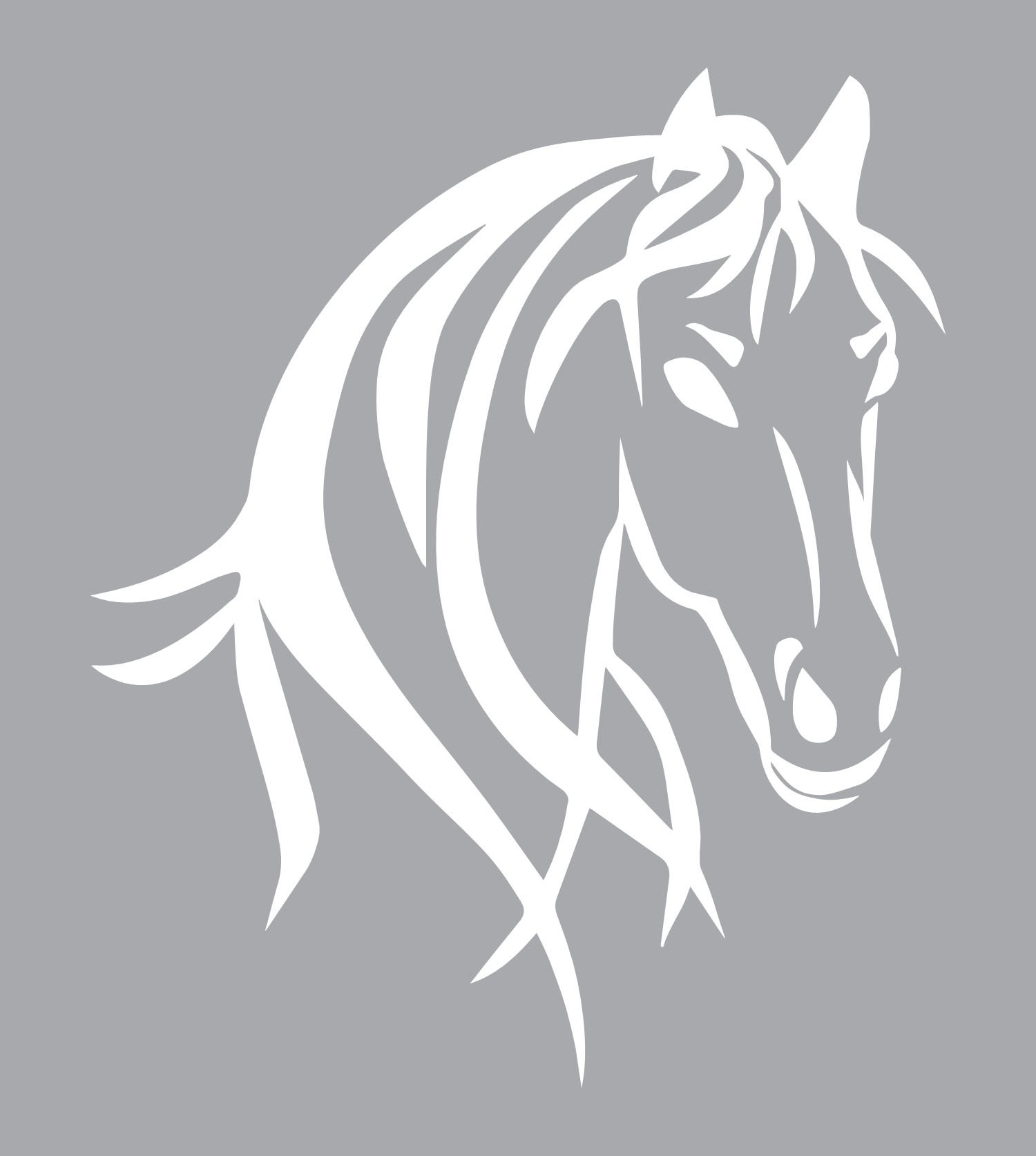 "Horse Truck Decal for Women is a Large OUTDOOR Vinyl Sticker Gift (22"" x 26.25"") Displaying Cowgirl Décor of Big Beautiful Wild Spirit Horse Head - Horse Trailer Truck Window RV – WHITE"