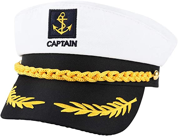 Chenkaiyang Adult Captain Hat Yacht Boat Cosplay Hat Cap Adjustable Clothing Accessories Wheat Ears Embroidery Navy Costume Marine Admiral for Men and Women