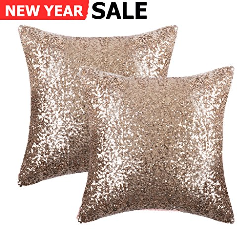 Pony Dance Decorative Comfy Satin Solid Sequins Throw Pillow Covers 18 Inch decorative Pillow Cases,Hidden Zipper Design,(2 Packs,Light Gold )