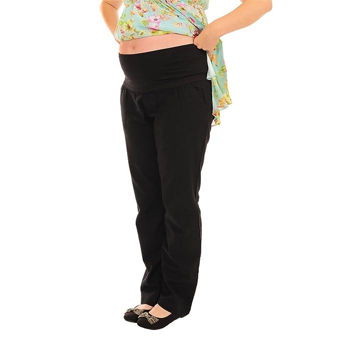 Negro Lino holgada Maternidad Embarazo ropa más de Bump Pantalones Negro negro 36