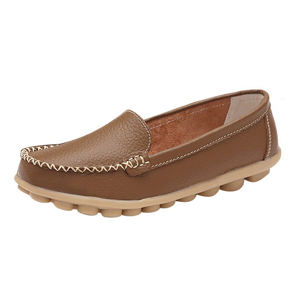 ♡QueenBB♡ Women's Leather Loafers Flats Casual Round Toe Moccasins Wild Breathable Driving Shoes Khaki