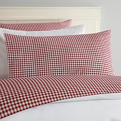 """Laurel & Mayfair Gingham Cotton Sheet Set (Queen, Red) - Set Includes: Flat Sheet: 70x96"""", Fitted Sheet: 39x75 +15"""", Shams Fabric Content: 100% Cotton - sheet-sets, bedroom-sheets-comforters, bedroom - 61bIsD3bMGL. SS400  -"""