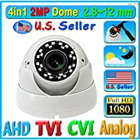 LEXAcctv 4in1 HD 2MP 1080P 2.8mm ~ 12mm Varifocal Wide Angle Lens Zoom in/out Focus TVI AHD CVI Analog (CVBS) CCTV Dome Camera Night vision OSD Outdoor Camera