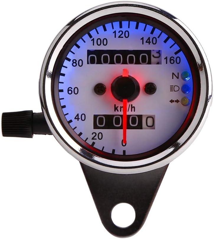 Indicateur de vitesse moto Jauge moto m/étal Universal Speed Moto Odom/ètre KM//H 12V moto compteur kilom/étrique Couleur : Argent