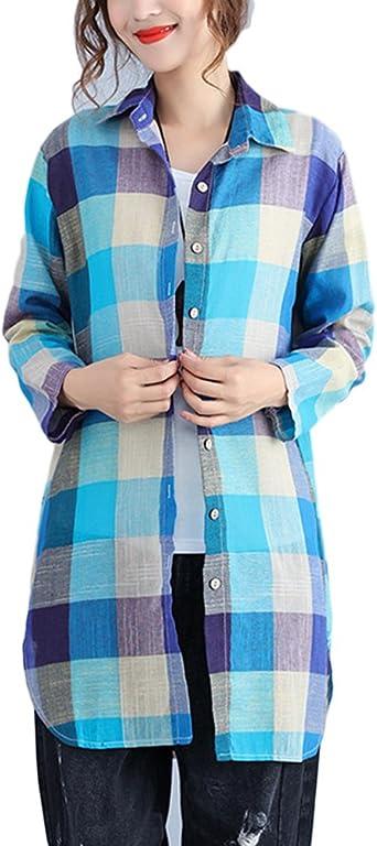 Mengmiao Camisas Mujer Cuadros Manga Larga Camisa Suelto Tops Cárdigan Talla Extra: Amazon.es: Ropa y accesorios