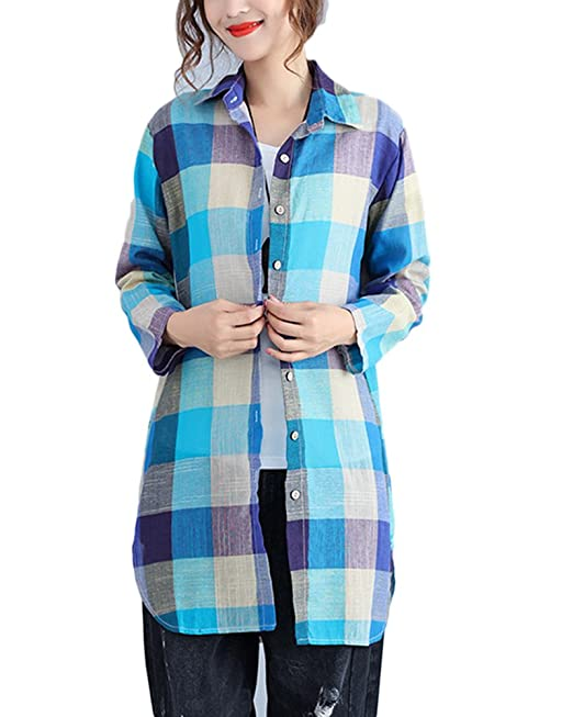 Mengmiao Camisas Mujer Cuadros Manga Larga Camisa Suelto Tops Cárdigan Talla Extra Azul Claro 2XL