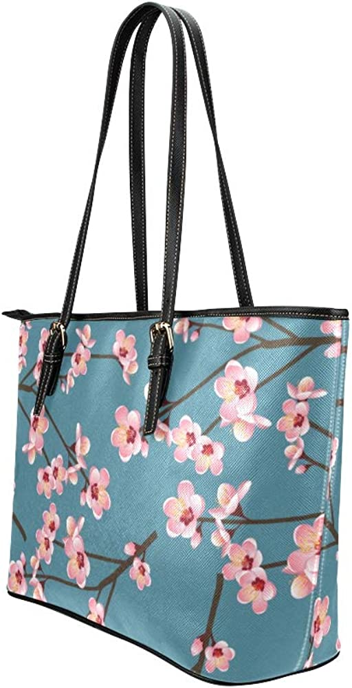 Luxury Handbags Retropink Spring Cherry Blossom Leather Hand Totes Bag Causal Handbags Zipped Shoulder Organizer For Lady Girls Womens Tote For Storage