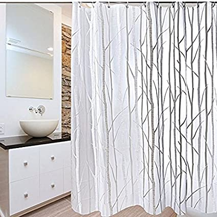 Amazoncom Seavish Peva Shower Curtain Liner Clear Branch Pattern