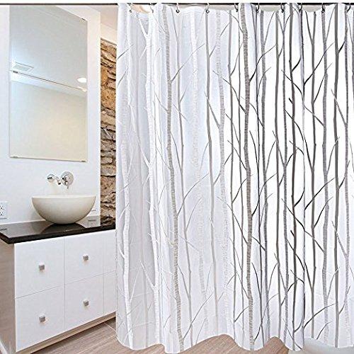 Seavish PEVA Shower Curtain Liner, Clear Branch Pattern Mild
