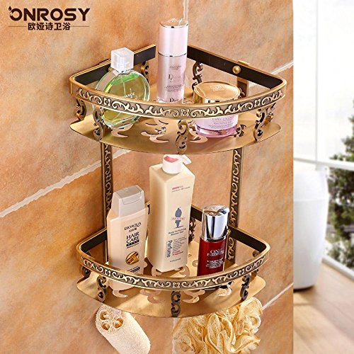Yomiokla Bathroom Accessories - Kitchen, Toilet, Balcony and Bathroom Metal Towel Ring Built-in Shelf Square Suction Hole Toilets Built-in Shelf Antique Wall Towel Works Bath Towel Ring