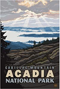 """Cadillac Mountain Acadia National Park Giclee Art Print Poster from Original Travel Artwork by Artist Paul A. Lanquist 12"""" x 18"""""""