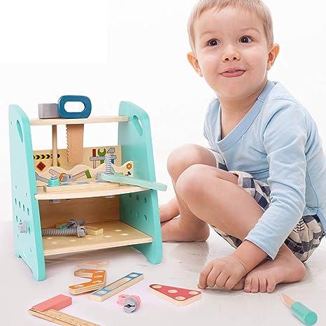Seciie Werkbank Kinder Holz 48stk Kinderwerkbank Aus Holz Mit Werkzeug Zubehor Rollenspiele Kinder Spielwerkzeug Sets Fur Kleinkinder Amazon De Spielzeug