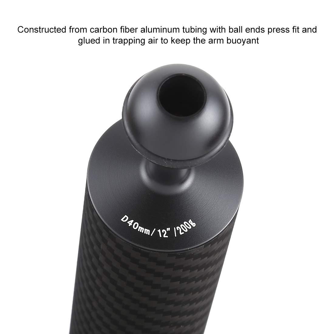 200 g Flotabilidad 25 mm HUANGMENG Buceo 12.59 Pulgadas 32 cm Longitud 40 mm Di/ámetro Bolas Dobles Fibra de Carbono Brazo Flotante Di/ámetro de la Bola