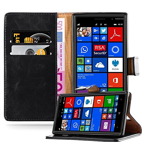 Cadorabo Book Case Works with Nokia Lumia 830 in Graphite Black - with Magnetic Closure, Stand Function and Card Slot - Wallet Etui Cover Pouch PU Leather Flip (Nokia 830 Case Holster)