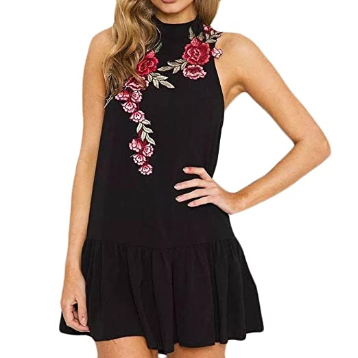 Zainafacai Womens Halter Neck Floral Embroidery Party Mini Dress (Black, ...