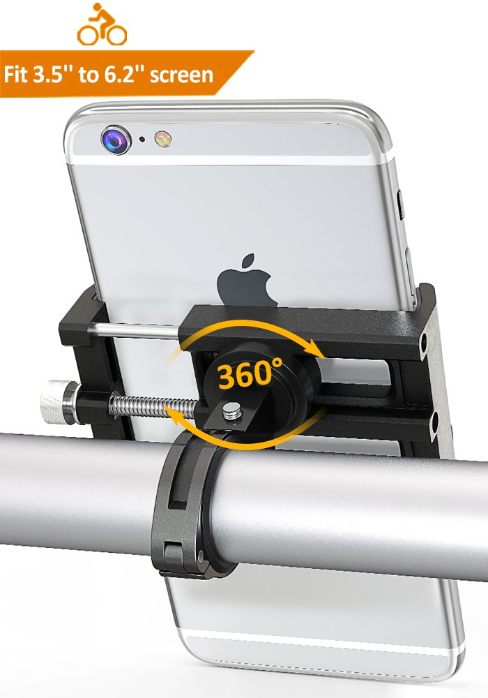 Comsoon Soporte Movil Bicicleta de Aluminio Soporte Universal Manillar Apoyo 360° Rotación para Moto y Bici Montaña, Compatible con iPhone X, 8 Plus, 7 Plus, 6s, Samsung Galaxy y 3.5-6.2 Smartphones
