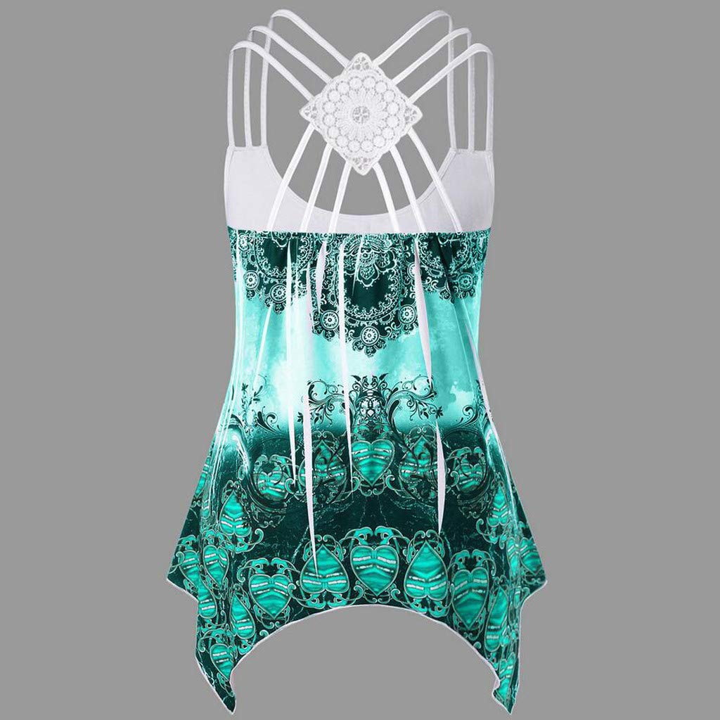 Sumeimiya women Ladies Bandages Sleeveless Vest Top High Low Tank Top Notes Strappy Tank Tops