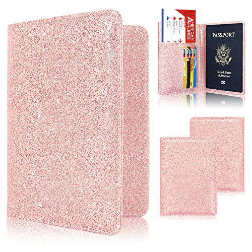 Passport Holder Case, ACdream Protective Premium PU Leather RFID Blocking Wallet Case for Passport, (Rose Gold Star of Paris)