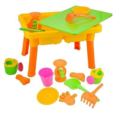 deAO Mesita Cajón de Arena y Agua con Accesorios y Tapa Protectora Actividades de Verano Infantil: Juguetes y juegos