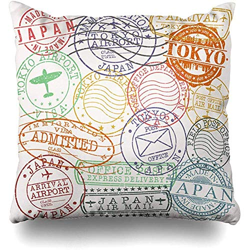 Throw Pillow Case Red Travel Tokyo Stamp Postal Famous Asia Classic Color Culture Damaged Design Insignia Zippered Pillowcase Square Size 18 x 18 Inches Home Decor Cushion Cover