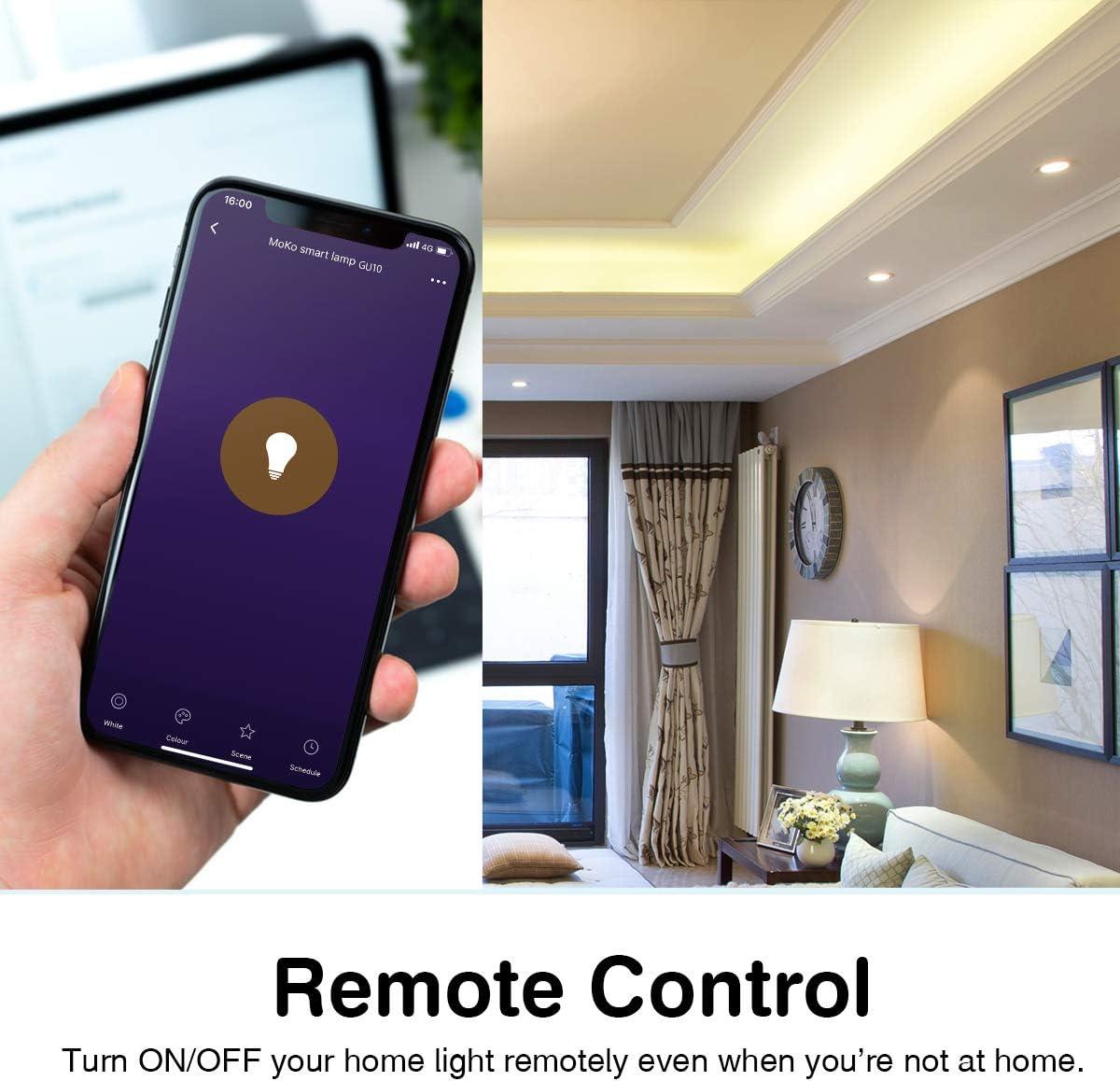 GU10 5W MoKo WiFi LED Bombilla Inteligente L/ámpara LED Bombilla Regulable RGB+Luz Blanco C/álido+Fr/ío App Funciona con Alexa Echo SmartThings Google Home para Control de Fon/ética Temporizador