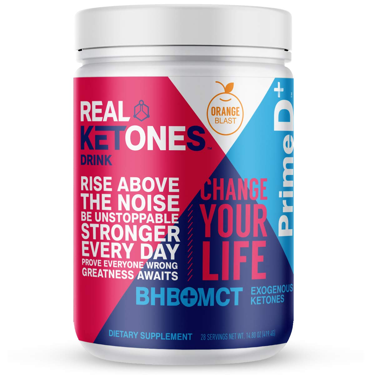 Real Ketones Prime D+ BHB (Beta-Hydroxybuterate) and MCT Exogenous Ketone Powder Supports Ketogenic Diet, Energy Boost, Mental Clarity (Orange Blast) (28 Serving)