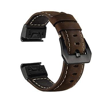YOOSIDE Fenix 5X Correa de Reloj, 26 mm QuickFit Correa de Reloj de Cuero Genuino de Repuesto para Garmin Fenix 5X/5X Plus, Fenix 3/3 HR, D2 Delta PX, ...