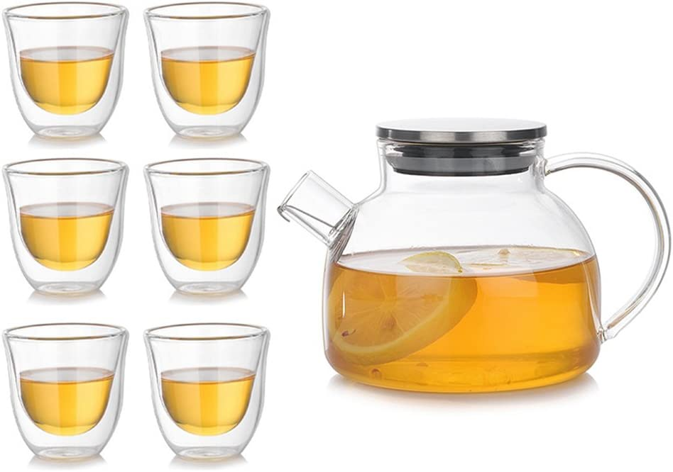 bicchieri a doppia parete Teapot servizio da caff/è 500/ML in vetro doppio strato tazza Teekanne+6 St/ück Teetasse yunt teiera con tazza da t/è set 70/ML