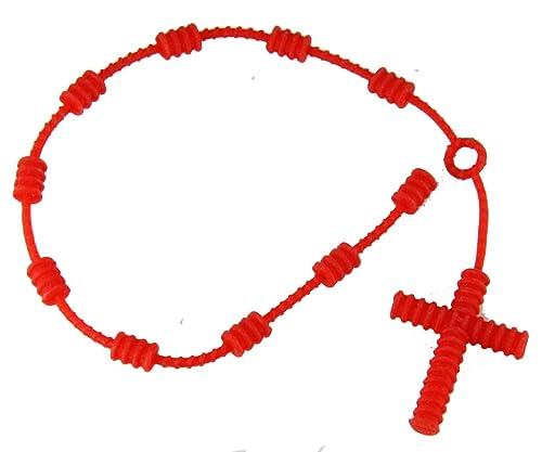 4031616 Juego de 2 piezas rojo de goma Decenario con nudos de pulseras pulsera de Cruz