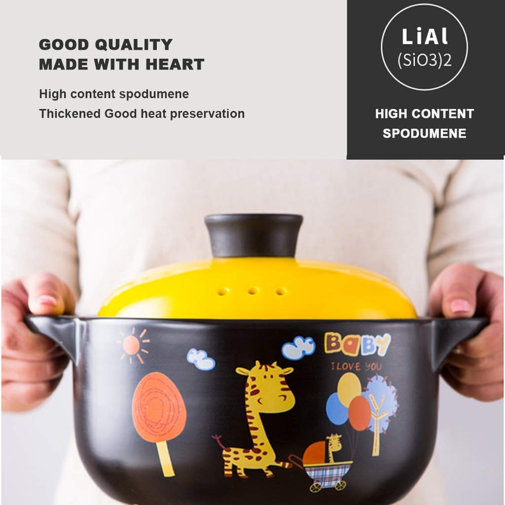 Amazon.com: Casserole Ceramic Pot Stone Pot Earthen Pot Large Capacity Kitchen Utensils Stockpot Stew Gift Home Cartoon Anti-scalding Full Glaze With Lid ...