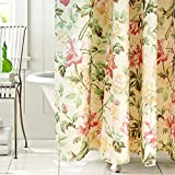 #7: Floral Shower Curtain Set Japanese Hibiscus Peony Print Shower Curtain Panel Traditional Girl Women Polyester Waterproof Fabric Bathroom Drape(Beige 72W x 72H)