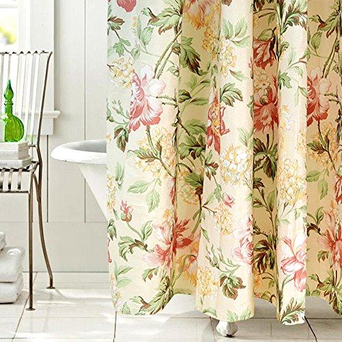 (Cdcurtain Floral Fabric Shower Curtain Set Pink Peony Japanese Hibiscus Flower Beige Decor Panel Traditional Girl Women Polyester Waterproof Bathroom Set Drape (72W x 72H))