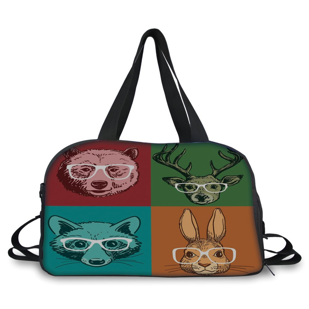 iPrint Travelling bag,Cabin Decor,Hipster Retro Style Funny Wild Animals Faces with Glasses Line Art Drawing Decorative,Multicolor ,Personalized