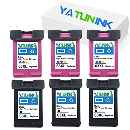 4Pk Black Color Ink Cartridges for HP 63XL Deskjet 1110 1112 2130 3630 3834 4650
