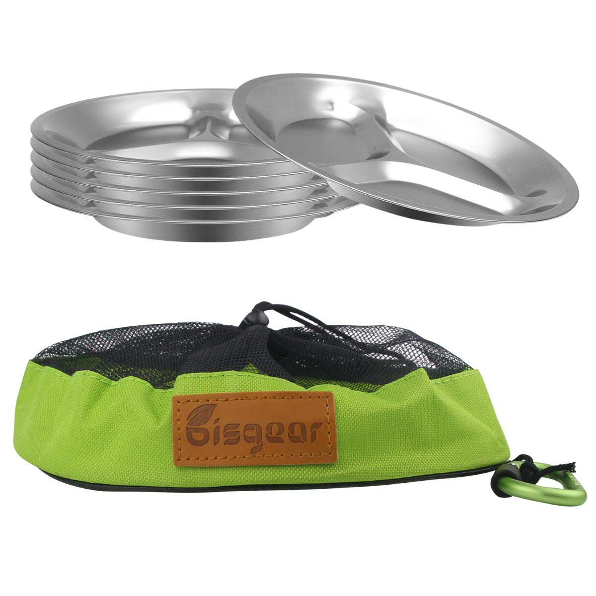 Bisgear 10.25 inch Stainless Steel Round Divided Plates Pack of 6 with Carabiner, Dishcloth and Mesh Travel Bag - Lightweight BPA Free Sectioned Plates for Outdoor Camping by Bisgear