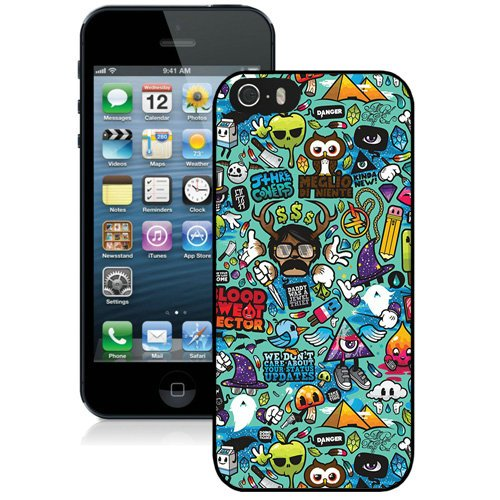 Coque,Fashion Coque iphone 5S Abstract Cartoons Colorful Background Noir Screen Cover Case Cover Fashion and Hot Sale Design