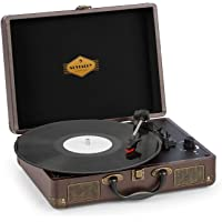 auna Peggy Sue Tocadiscos con Altavoces • Gramola para Discos de Vinilo • Diseño de Maleta • USB • 33, 45 y 78 RPM • Salida estéreo • Asa de Transporte • Marrón