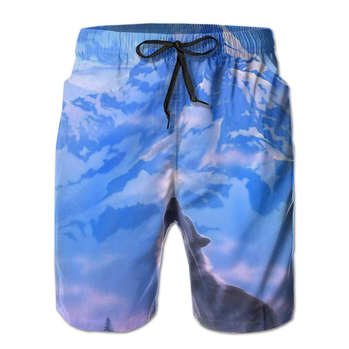 SARA NELL Mens Swim Trunks Wolf Howl in The Snow Mountain Surfing Beach Board Shorts Swimwear