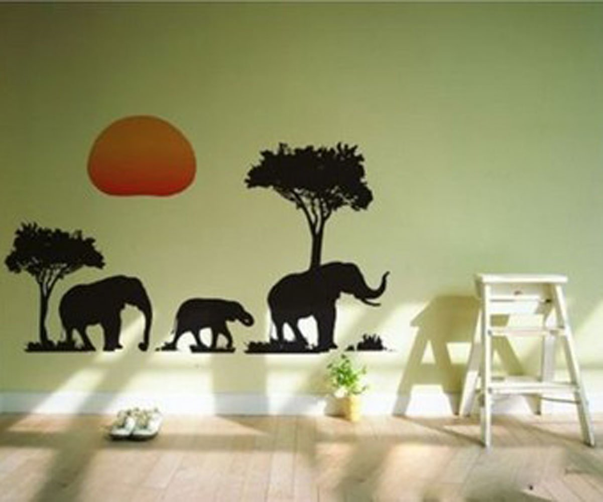 Amazoncom African Elephants Trees Sunset Removable Vinyl Wall - Wall decals animalsafrican savannah wall sticker decoration great trees with