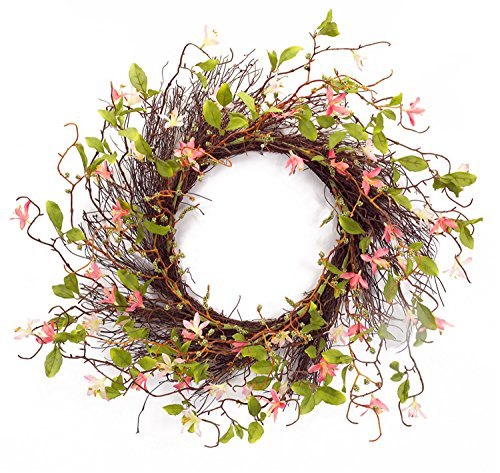 Melrose International Twig Wreath with Pink Wild Flowers, 28