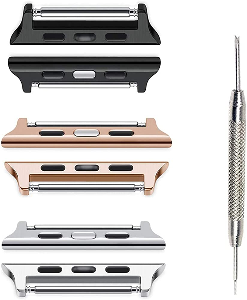 SINGEAR Adapter for Apple Watch Straps 38mm 40mm, with Spring Bar Stainless Steel Connector Replacement Kit Compatible with iWatch Bands