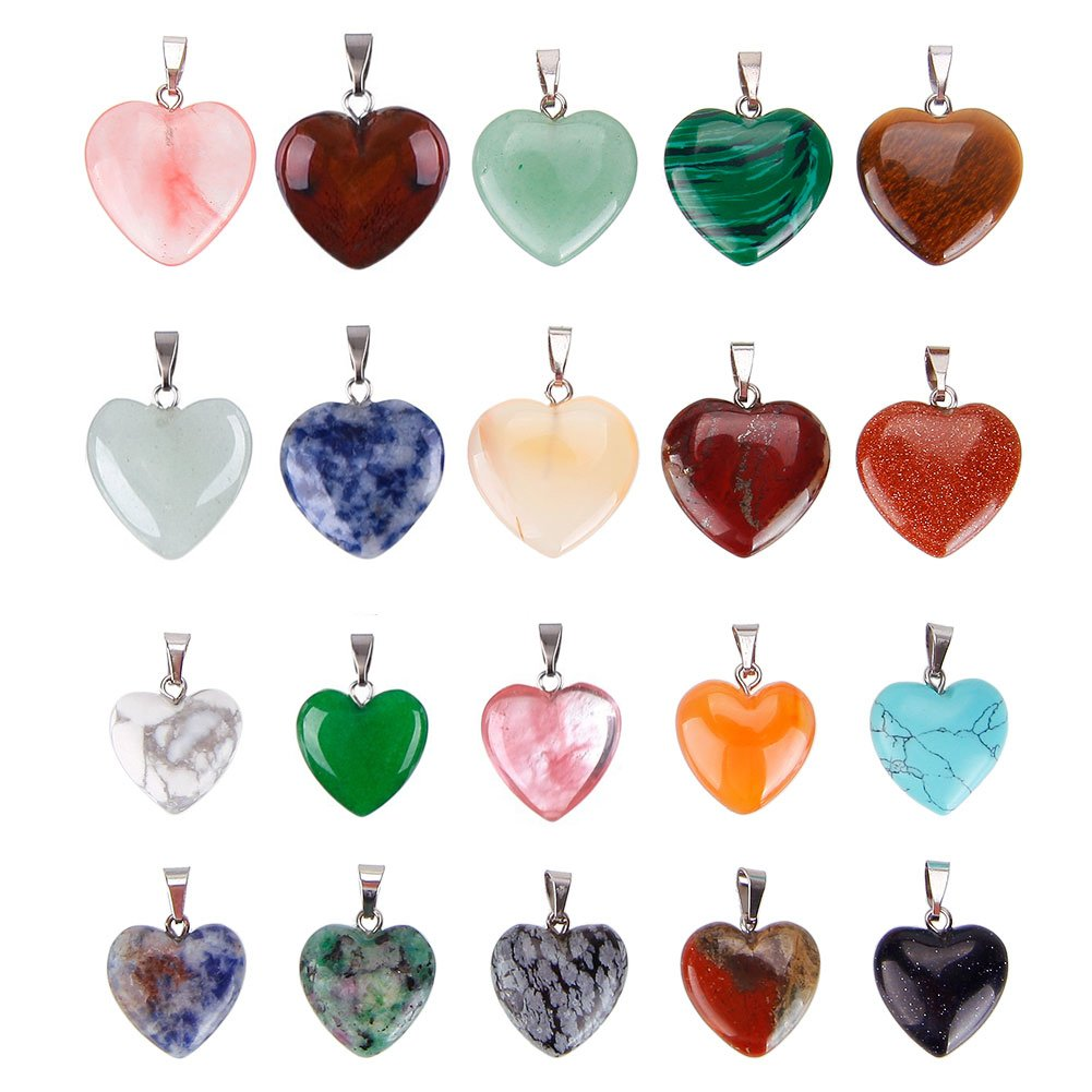 Keyzone 20 Pieces Heart Shaped Stone Pendants Charms Crystal Chakra Beads for DIY Necklace Jewelry Making, 2 Sizes, Assorted Color by Keyzone