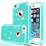 mint iphone 5s case protective - iPhone 5S Case, iPhone 5 Case, iPhone SE Case with HD Screen Protector,LeYi Glitter Bling Girls Wome [PC Silicone Leather] Dual Layer Heavy Duty Protective Case for iPhone 5S / 5 / SE TP Mint