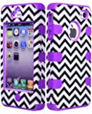 JUSTING@Black & White Chevron Pattern Hybrid Hard Shell Case for Iphone 4/4S with Free Screen Protector+Stylus Pen (purple)