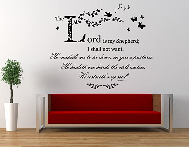 Amazon.com: Psalm 23, Christian NIV Bible Verse Quote, The Lord is ...