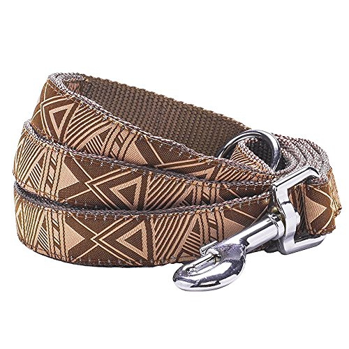 """Blueberry Pet 4 Patterns Durable Mysterious African Geographical Pattern Dog Leash 5 ft x 5/8"""" in Brown, Small, Leashes for Dogs"""