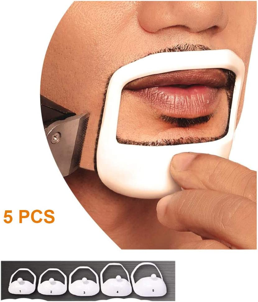 NewChiChi Beard Shaper Template Shaping Tool, Premium Quality Template Shaping for Goatee Mustache Sideburns Facial Hair Trimming Grooming Guide for Men Jaw Cheek Neck Line Symmetric Curve