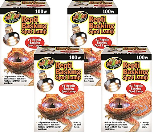 (4 Pack) Zoo Med Repti Basking Spot Lamps 100 watt for Reptiles by Zoo Med