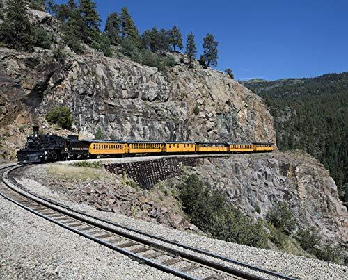 Train Photo Real Railroad (Las Animas County, CO - Photo - A Durango & Silverton Narrow-Guage Scenic Railroad Train, Rounds a high San Juan Mountains Precipe in Las Animas County, Colorado. - Highsmith)